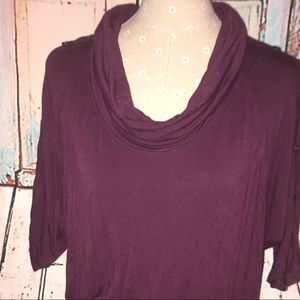PLEIONE~Cowl-neck Button Embellished Batwing Top~L